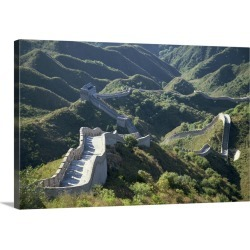 Large Solid-Faced Canvas Print Wall Art Print 30 x 20 entitled The Great Wall of China snaking through the hills, China, Asia