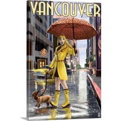 Large Solid-Faced Canvas Print Wall Art Print 20 x 30 entitled Rain Girl Pinup - Vancouver, BC: Retro Travel Poster