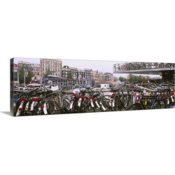 Large Solid-Faced Canvas Print Wall Art Print 48 x 16 entitled Bicycles parked in a parking lot, Amsterdam, Netherlands