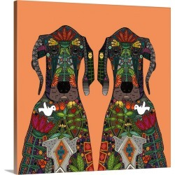 Large Gallery-Wrapped Canvas Wall Art Print 16 x 16 entitled Great Dane love tangerine