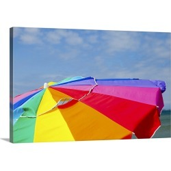Large Solid-Faced Canvas Print Wall Art Print 30 x 20 entitled A beach umbrella and a blue sky on Martha's Vineyard