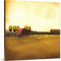 Large Solid-Faced Canvas Print Wall Art Print 20 x 20 entitled Rural Landscape II