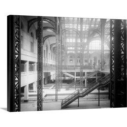 Large Gallery-Wrapped Canvas Wall Art Print 30 x 23 entitled The concourse in Penn Station in New York City, 1910