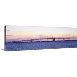 Large Solid-Faced Canvas Print Wall Art Print 48 x 16 entitled Chesapeake Bay Bridge MD