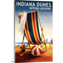 Large Solid-Faced Canvas Print Wall Art Print 20 x 30 entitled Indiana Dunes National Seashore, Indiana, Beach Chair and Ball