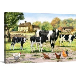 Large Gallery-Wrapped Canvas Wall Art Print 24 x 16 entitled Fresian Cows Landscape