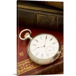 Large Gallery-Wrapped Canvas Wall Art Print 20 x 30 entitled Old-fashioned pocket watch and books