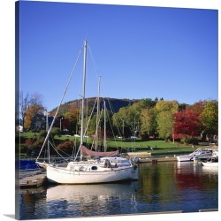 Large Solid-Faced Canvas Print Wall Art Print 20 x 20 entitled Boats on waterfront at Camden harbour with Mount Battie, Ma... found on Bargain Bro Philippines from Great Big Canvas for $149.99