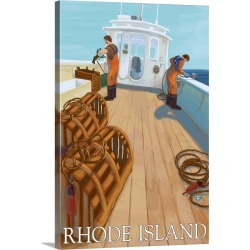 Large Gallery-Wrapped Canvas Wall Art Print 16 x 24 entitled Rhode Island - Lobster Fishing: Retro Travel Poster