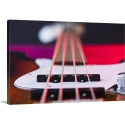 Large Solid-Faced Canvas Print Wall Art Print 30 x 20 entitled Close up of bass guitar