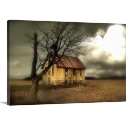 Large Gallery-Wrapped Canvas Wall Art Print 24 x 16 entitled A rural scene with small church