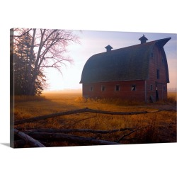 Large Gallery-Wrapped Canvas Wall Art Print 24 x 16 entitled A Barn Sits In Morning Mist