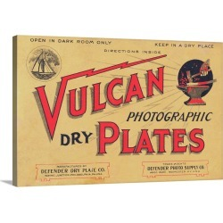 Large Solid-Faced Canvas Print Wall Art Print 30 x 20 entitled Advertisement for Vulcan Photographic Dry Plates