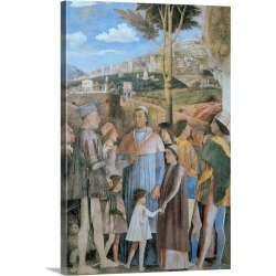 Large Gallery-Wrapped Canvas Wall Art Print 20 x 30 entitled Meeting, by Andrea Mantegna, c. 1465-1474. Camera degli Sposi...