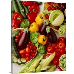 Large Solid-Faced Canvas Print Wall Art Print 24 x 30 entitled Arrangement of fruits and vegetables
