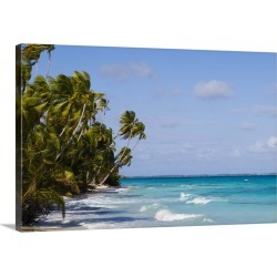Large Solid-Faced Canvas Print Wall Art Print 30 x 20 entitled Palm trees on a beach leaning out over a sea of deep turquo...