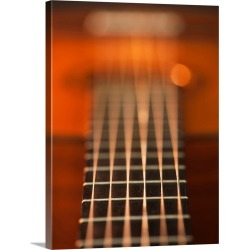 Large Solid-Faced Canvas Print Wall Art Print 30 x 40 entitled Close up of strings of acoustic guitar