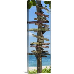 Large Gallery-Wrapped Canvas Wall Art Print 10 x 30 entitled Destination Signs, Key West