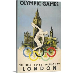 Large Gallery-Wrapped Canvas Wall Art Print 16 x 24 entitled Official Poster for London Olympic Games 1948 Walter Herz