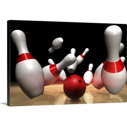 Large Gallery-Wrapped Canvas Wall Art Print 24 x 16 entitled Strike in a Bowling Game found on Bargain Bro India from Great Big Canvas - Dynamic for $214.99