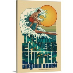 Large Gallery-Wrapped Canvas Wall Art Print 16 x 24 entitled Virginia Beach, Virginia - The Endless Summer - Underwater Scene