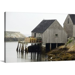 Large Gallery-Wrapped Canvas Wall Art Print 30 x 20 entitled Canada, Nova Scotia, Peggy's Cove. Lobster traps on typical w...
