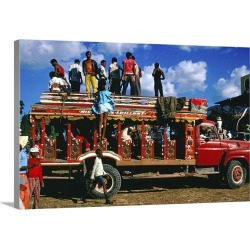 Large Solid-Faced Canvas Print Wall Art Print 30 x 20 entitled People standing on  roof of crowded intercity bus.