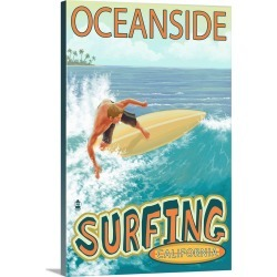 Large Solid-Faced Canvas Print Wall Art Print 20 x 30 entitled Oceanside, California, Surfer Scene