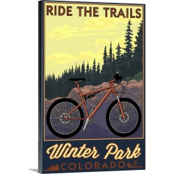 Large Solid-Faced Canvas Print Wall Art Print 20 x 30 entitled Winter Park, Colorado, Mountain Bike Scene