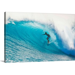 Large Solid-Faced Canvas Print Wall Art Print 30 x 20 entitled Hawaii, Maui, Laperouse, Professional Surfer Albee Layer in...