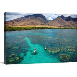 Large Gallery-Wrapped Canvas Wall Art Print 24 x 16 entitled Hawaii, Maui, Olowalu, Stand Up Paddling found on Bargain Bro India from Great Big Canvas - Dynamic for $214.99