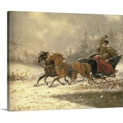 Large Gallery-Wrapped Canvas Wall Art Print 20 x 16 entitled Returning Home in Winter