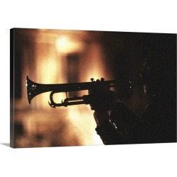 Large Solid-Faced Canvas Print Wall Art Print 30 x 20 entitled Mariachi band player at night found on Bargain Bro India from Great Big Canvas - Dynamic for $169.99