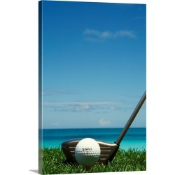 Large Gallery-Wrapped Canvas Wall Art Print 16 x 24 entitled Golf Ball And Driver, Ocean In Background found on Bargain Bro India from Great Big Canvas - Dynamic for $214.99