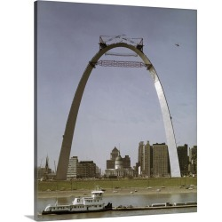 Large Solid-Faced Canvas Print Wall Art Print 24 x 30 entitled St Louis Arch Undergoing Construction