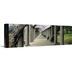 Large Solid-Faced Canvas Print Wall Art Print 48 x 16 entitled Columns along a path in a garden, Maymont, Richmond, Virginia