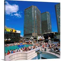 Large Gallery-Wrapped Canvas Wall Art Print 20 x 20 entitled Canada, Quebec, Montreal, Place des Arts