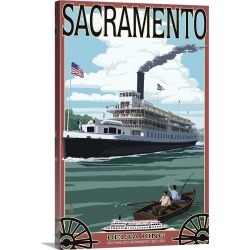 Large Gallery-Wrapped Canvas Wall Art Print 16 x 24 entitled Delta King Riverboat - Sacramento, CA: Retro Travel Poster