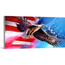 Large Gallery-Wrapped Canvas Wall Art Print 30 x 15 entitled American Eagle Flag