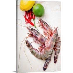 Large Gallery-Wrapped Canvas Wall Art Print 16 x 24 entitled Fresh prawns, lemon, lime and chillies found on Bargain Bro India from Great Big Canvas - Dynamic for $224.99