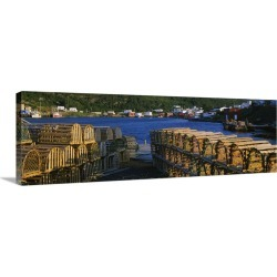 Large Gallery-Wrapped Canvas Wall Art Print 30 x 10 entitled Stack of lobster traps on the coast, Salvage, Newfoundland & ..