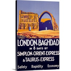 Large Solid-Faced Canvas Print Wall Art Print 20 x 30 entitled Baghdad, Iraq, Simplon Orient Express, Vintage Poster, by R...