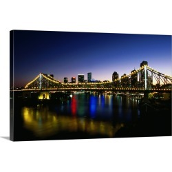 Large Gallery-Wrapped Canvas Wall Art Print 24 x 15 entitled Story Bridge at night, Brisbane River, Queensland, Australia found on Bargain Bro India from Great Big Canvas - Dynamic for $219.99
