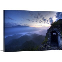 Large Solid-Faced Canvas Print Wall Art Print 30 x 20 entitled Great Wall of China, JianKou, unrestored section in the mor...