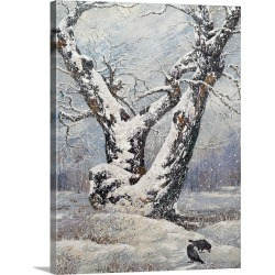 Large Solid-Faced Canvas Print Wall Art Print 30 x 40 entitled Lonely Oak in a Winter Wood