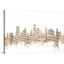 Large Gallery-Wrapped Canvas Wall Art Print 24 x 16 entitled Houston Texas Skyline Sheet Music Cityscape