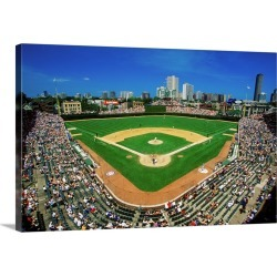Large Solid-Faced Canvas Print Wall Art Print 30 x 20 entitled Fisheye view of crowd and diamond at Wrigley Field, Illinois