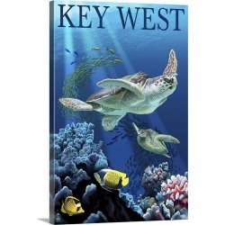 Large Gallery-Wrapped Canvas Wall Art Print 16 x 24 entitled Sea Turtles, Key West, Florida