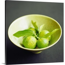 Large Solid-Faced Canvas Print Wall Art Print 20 x 20 entitled A bowl of yuzu (Japanese citrus fruit)