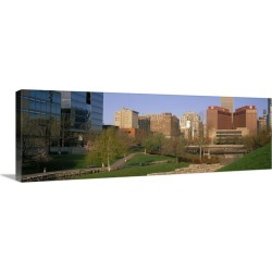 Large Solid-Faced Canvas Print Wall Art Print 48 x 16 entitled Downtown Omaha NE